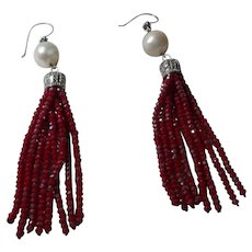 Artisan Created Red Crystal Dangle Earrings with Cultured Pearls