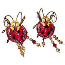 Lunch at the Ritz Red Ladybug Clip Earrings