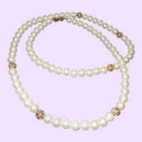 Givenchy Paris New York Faux Pearl Necklace