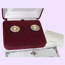 Camrose & Kross Jackie Kennedy Faux Pearl Button Earrings