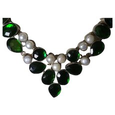 Ethnic Green Quartz Neckalce with Mabe' Pearls