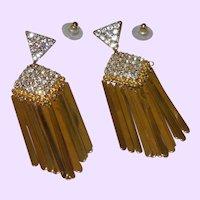 Vintage Rhinestone and Gold Tone Metal Dangle Earrings