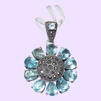 Vintage Blue Topaz Pendant With Marcasite