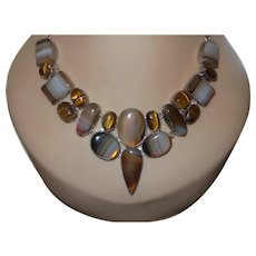 Ethnic Tiger Eye Sterling Silver Necklace