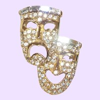 Signed Pell Double Face Mask Brooch