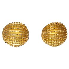 Signed Trifari Gold Tone Metal Earrings
