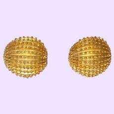 Signed Trifari Gold Tone Metal Earrings