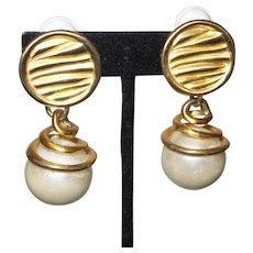 Vintage Faux Pearl Dangle earrings