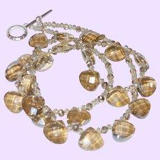 Hand Strung Topaz Briolette Necklace