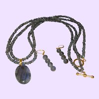 Hand Strung Double Strand Labradorite Necklace with Oval Pendant