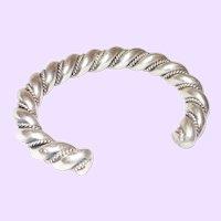 Vintage  Silver Twisted Rope Bracelet