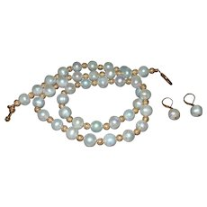 Hand Strung Cultured Pearl Necklace with Gold Plate Beads