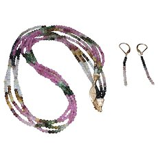Four Strand Rainbow Tourmaline Necklace with Earrings