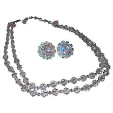 Signed Hobe Double Strand Crystal Necklace with Earrings