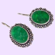 Ethnic Sakota Emerald Earrings in Silver