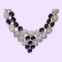 Ethnic Rainbow Moonstone and  Faux Amethyst Necklace