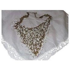 Vintage MIlk Glass V-Shaped Chain Necklace