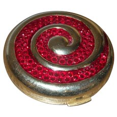 Estee Launder Round Compact With Red Crystals