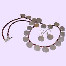Hand Strung Cloudy Agate Briolette Necklace with Red Garnets