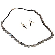 Hand Stung Labradorite Briolette Necklace with Black Tourmaline