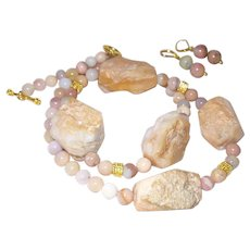 Hand Strung Natural Pink Opal Nugget Necklace