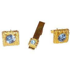 Vintage Blue Rhinestone and Gold Tone Mesh Cuff Link Set