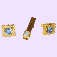 Vintage Blue Rhinestone and Gold Tone Mesh Cuff Link Set