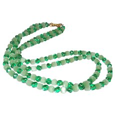 Signed Trifari Double Strand Necklace and Earrings In Green Glass
