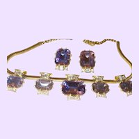 Signed Schiaparelli Amethyst Rhinestone Necklace and Earring Set