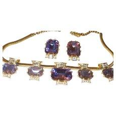 Signed Schiaparelli Amethyst Rhinestone Necklace and Earring Set