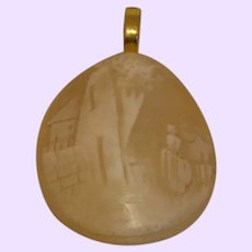 Vintage Shell Cameo Pendant With Gold Plate Bale