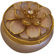 Signed Joan Rivers Pink Enamel Pill Box With Crystal