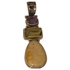 Ethnic Sterling Jasper, Amethyst and Yellow Citrine Pendant
