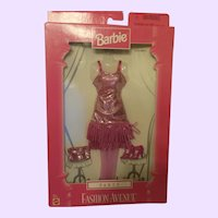 Barbie Fashion Avenue Party Pink Fringe Dress NRFB