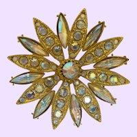 Signed R.J. Graziano Aurora Borealis  Flower Motif Brooch