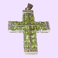 Vintage Peridot, Green, Swarovski and Marcasite Silver Cross