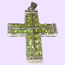 Vintage Peridot, Green, Swarovski and Marcasite Silver Cross