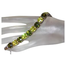 Vintage Peridot, Green, Swarovski and Silver Bracelet