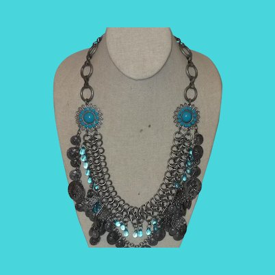 Ethnic Matte Silver Necklace with Faux French Coins and Topaz Stones
