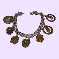 Sterling Silver Charm Bracelet with Seven Sterling Charms