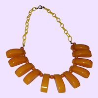 Art Deco Celluloid Links and Bakelite Amber Colored Necklace