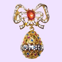 Craft Design Rhinestone and Enamel Egg Brooch