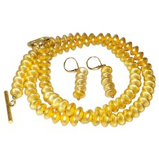 Simple Single Strand 14 Karat Gold Filled Rhondells with Earrings