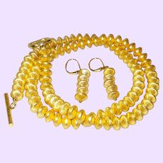 Simple Single Strand 14 Karat Gold Filled Rhondells with Earrings