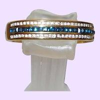 Vintage Faux Sapphire Bangle Bracelet