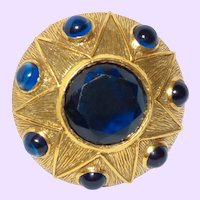 Stunning Signed Benedikt of N.Y. Brooch with Faux Sapphires