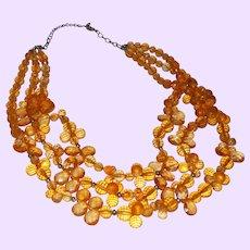 Vintage Three Strand Briolette Necklace in Lucite