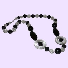 Vintage Lucite Black and Clear Lucite Necklace