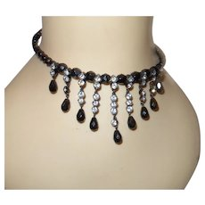 1930 Black Jet Necklace With Rhinestone Dangles
