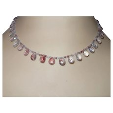 Hand Stung Strawberry Quartz Briolette Necklace
